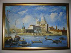 Venice Gondola Ride Oil on Canvas Signed By Harris Gilt Wood Frame – Designer Unique Finds