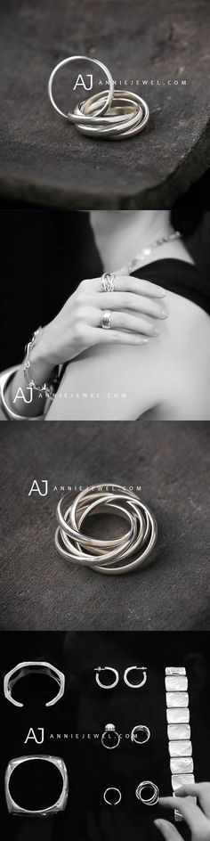 ELEGANT IS ATTITUDE! STERLING SILVER RING STACK OF FIVE LAYERED RING CLASSIC BANDS RING GIFT RING JEWELRY #womanrings
