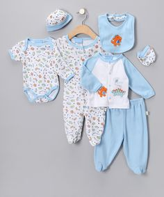 Blue 'Little Dino' Layette Set | Daily deals for moms, babies and kids
