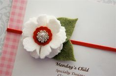 Valentines Day Felt Flower Headband - Newborn Headband, Baby Headband, Baby Girl Headband. $7.95, via Etsy.