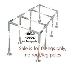 """Slant Roof Canopy Fittings+Tarp Kit: Greenhouse Deck Carport Tent Shade 1-3/8""""   eBay Carport Canopy, Deck Canopy, Pvc Connectors, Carport Covers, Boat Garage, Replacement Canopy, Foot Pads, Galvanized Steel"""