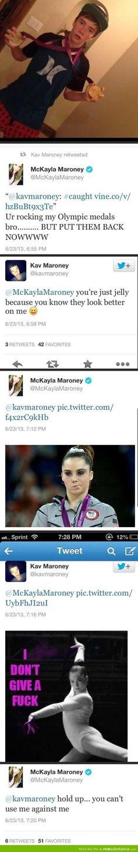 Tweets between McKayla and her brother