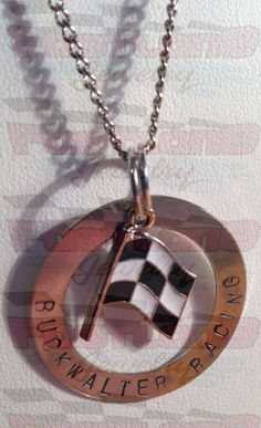 Custom Race Team Stamped Washer with Checkered Flag Charm Necklace by Fastlane Jewelry