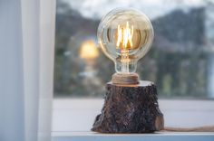 Wood lamp with the Edison led bulb  #lights #Woodenlamp #Loglamp #Rustic #lamp #Bedsidelamp #Woodlamp #naturallight #Woodlight #tablelamp #Desklamp #Floorlamp #Ledlamp #etsy #etsyseller #etsyshop