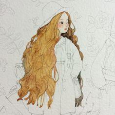 女孩头部过程图-那仁_插画,水彩,手绘,小清新,少女_涂鸦王国插画