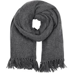Isabel Marant Zila dark grey fringed cashmere blend scarf (26,960 INR) ❤ liked on Polyvore featuring accessories, scarves, isabel marant, fringe shawl, isabel marant scarves and fringe scarves