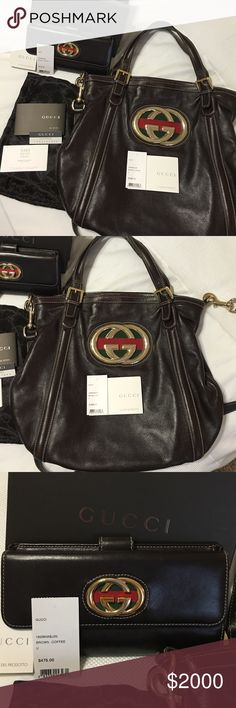 "GUCCI Britt ""Double G"" Brown Handbag & Wallet 100% Authentic. Purchased at the Saks Fifth Avenue in San Antonio, TX. Comes with dust bag and original wallet box and tags. Selling the set together. Original price tags are shown in last picture. Paid well over $2300 for the set with tax. Price is definitely negotiable and I'm always open to offers. Dark brown leather with iconic G's. Gucci Bags"