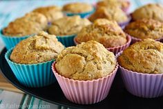 Vegan banana date muffins - leave out the walnuts Vegan Banana Muffins, Baked Banana, Banana Nut, Healthy Muffins, Vegan Sweets, Vegan Desserts, Dessert Recipes, Vegan Recipes, Cooking Recipes