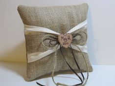 Personalized Burlap Ring Bearer Pillow With by occasionsbysarah, use burlap flower instead of heart..