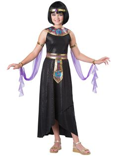 Kids Enchanting Cleopatra Egyptian Costume - Take the throne and rule as an Ancient Egyptian Pharaoh with this Enchanting Cleopatra costume. The long sequin dress has elastic straps and comes with belt, collar, arm drapes and headband. Perfect for Halloween and school! #YYC #Calgary #costume #Cleopatra #Egyptian #EnchantingCleopatra