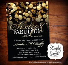 Surprise 60th Birthday Party Invitation with Gold Glitter Bokeh Sixty and Fabulous PRINTABLE