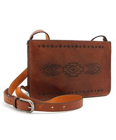 Tan Etched Leather Crossbody at Maverick Western Wear
