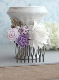 White Rose, Lavender, Lilac Purple, Ivory, Brass Leaf, Pearl Flower Collage Hair Comb. Bridesmaids Gift. Purple Wedding. Floral Hair Piece.