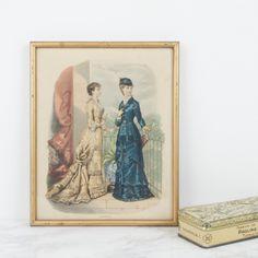 Antigua litografía coloreada francesa de moda | Antic&Chic