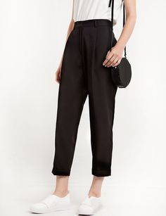 Black High Waist Peg Trousers