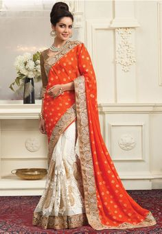Orange and Off White Faux Crepe Jacquard and Net Saree with Blouse: SYG324