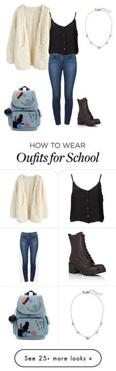 """School outfit"" by emmar255 on Polyvore featuring Chicwish, Theory, Barneys New York and Kipling #polyvoreoutfits"