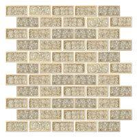 Diamond Crackled Ceramic Mosaic Tile - 1 x 2 in.