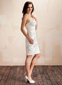 Sheath/Column Sweetheart Asymmetrical Detachable Satin Lace Wedding Dress With Beading Crystal Brooch Sequins Bow(s) (002012842)