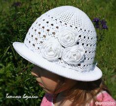 Белоснежная шляпка Summer Hats, Baby Hats, Crochet Baby, Knitting, How To Make, Crafts, Fashion, Sombreros, Beret