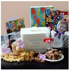 Treats For Your Birthday Gift Tin It's Your Birthday, Birthday Gifts, Tin Gifts, Busy At Work, Tasty, Survival Kits, Treats, Hampers, Mugs