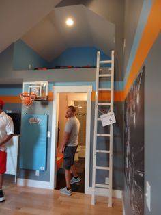 Love the paint palettes for boys room and the upper area. Nursery Room, Kids Bedroom, Bedroom Decor, Bedroom Loft, Basketball Room, Indoor Basketball, Basketball Quotes, Building For Kids, Kids Corner
