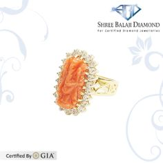 14K Gold Ring with 11.87ct Coral Ganesh surrounded by 0.87 ct Belgium Cut Diamonds