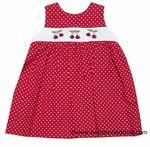 Betty Terrell Girls Red / White Dots Smocked Cherry Cherries Wrap Sun Dress