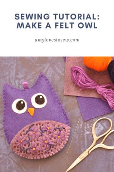 Looking for a cute easy sewing idea? This step by step beginner sewing project is a lovely felt sewing idea; make your own little owl and practice your hand sewing; a great beginner embroidery idea. Animal Sewing Patterns, Owl Patterns, Sewing Patterns Free, Free Sewing, Embroidery For Beginners, Sewing Projects For Beginners, Sewing Tutorials, Owl Sewing, Hand Sewing