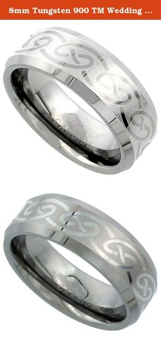 8mm Tungsten 900 TM Wedding Ring Celtic Knot Pattern Beveled Edges Comfort fit, size 9. With many, many years of experience selling tungsten rings, we guarantee that our formulation of tungsten in combination with finish quality, service, delivery and price is better than just about anybody else selling similar products. This is an Excellent Quality Scratch RESISTANT Tungsten Ring, It's Cobalt Free to avoid allergies and has the Carbides to make them Scratch Resistant. The curvature…