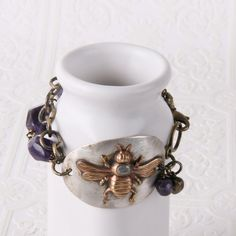 Royal Bee Spoon Bowl Soldered Bracelet - Handmade by Girl Ran Away With The Spoon - Miles City, MT