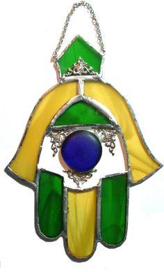 Hamsa Glass Vitrage Israel Judaica WALL Handmade by IrinaSmilansky, $38.99