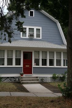 What my gambrel-roof shed would look like painted a bluish gray.
