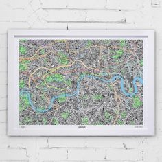 Amazing map of London ! The hand drawn maps meticulously highlights the districts and neighbourhoods complete with the quirky in-the-know signature marks and landmarks that make the cities so unique.  Available in two standard sizes for easy framing. Visit our website for further details and images.