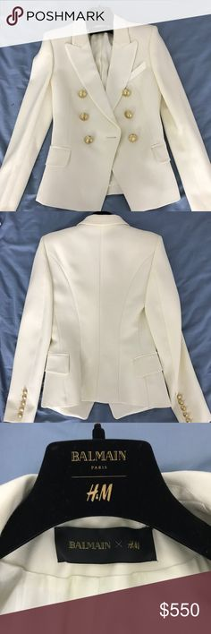 Balmain X H&M Blazer Brand new Balmain X H&M Off-white blazer in a size 2. The blazer also comes with the original garment bag and hanger. Includes original buttons and tags. Balmain Jackets & Coats Blazers