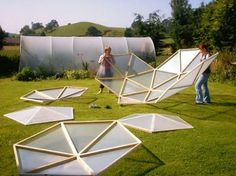 a dome greenhouse design that doesn't cost a fortune and is easy to construct. #geodesic