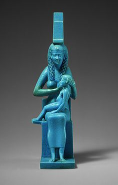 Statuette of Isis and Horus, Ptolemaic Period, ca. 304–30 b.c.  Egyptian  Egyptian faience    H. 6 3/4 in. (17 cm)  Purchase, Joseph Pulitzer Bequest, 1955 (55.121.5)