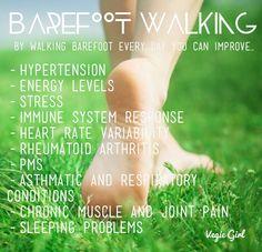 Walking barefoot benefits #walking #health