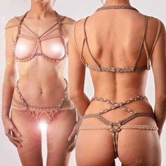 Stretch Shibari set ensemble de harnais de corde de Stretch | Etsy Accessoires Photo, Bra Opening, Crochet Crop Top, Fancy Dress, Bikinis, Swimwear, Thong Bikini, Lingerie, Etsy
