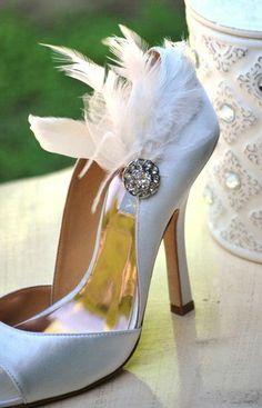 Shoe Clips Ivory / White / Black Feathers Rhinestone. Bride Bridal Bridesmaid Lush Edgy Summer Birthday Statement Boudoir Burlesque Feminine. $56.00, via Etsy.