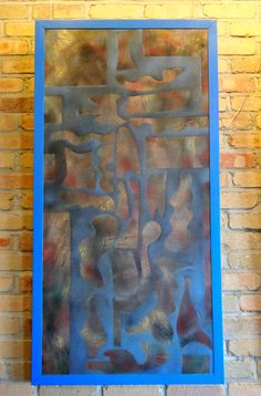 """Behind the Screen"" - $250, ArtByStorm@gmail.com, #art, #painting, #gift, #home, #shapes, #blue"
