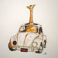 Items similar to Freckle - Whimsical Wall Art Nursery Decor Animal Jungle Giraffe Volkswagen Bug Beetle on Etsy Nursery Wall Art, Nursery Decor, Giraffe Illustration, Giraffe Pictures, Art Shed, Giraffe Art, Funny Giraffe, In Kindergarten, Freckles