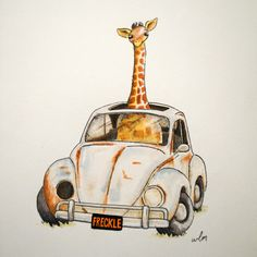 Freckle - 8x10 Whimsical Wall Art Nursery Decor Animal Jungle Giraffe Volkswagen Bug Beetle