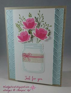 card flower bouquet, flowers in a jar, vase, SU Jar of Love Stampin UP - Just For You Jar Of Love Love Cards, Diy Cards, Mason Jar Cards, Mason Jars, Jar Of Hearts, Karten Diy, Pots, Love Stamps, The Draw