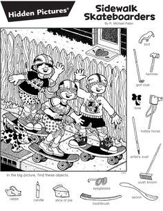 Hidden Object Games, Hidden Objects, Abc Coloring Pages, Coloring Books, Craft Activities For Kids, Kindergarten Activities, Highlights Hidden Pictures, Hidden Pictures Printables, Hidden Picture Puzzles