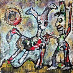 ' Donkey Magic ' Mixed media on board by Jeff Roland 2018 Magic S, Fine Art Gallery, Donkey, Artist, Mixed Media, Painting, Website, Board, Donkeys