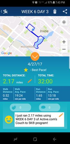 Not the pace I wanted BUT I was amazed that today's 22 felt way easier than last week's 20. #C25K #everymomentcounts #running #run #health #fitness #GetRunning #workout #5k