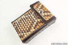 Leder Zigarettenetui Klapperschlange dunkelbraun von ARCHERIA