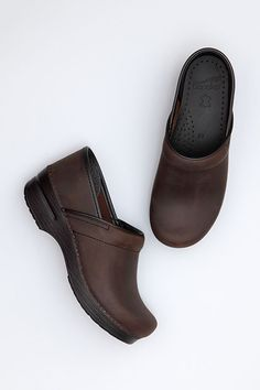 The Dansko Antique Brown Oiled - Black from the Professional collection.