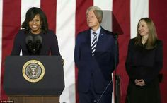 Michelle (pictured next to Bill and Chelsea) spoke earlier in the evening, saying speaking at the rally was the last and perhaps most important thing she could do for her country as first lady  Read more:http://www.dailymail.co.uk/news/article-3915194/Hillary-Clinton-ends-campaign-massive-rally-attended-Obamas-Bill-Chelsea-performance-Bruce-Springsteen.html#ixzz4PQCQ2YBX Follow us:@MailOnline on Twitter DailyMail on Facebook
